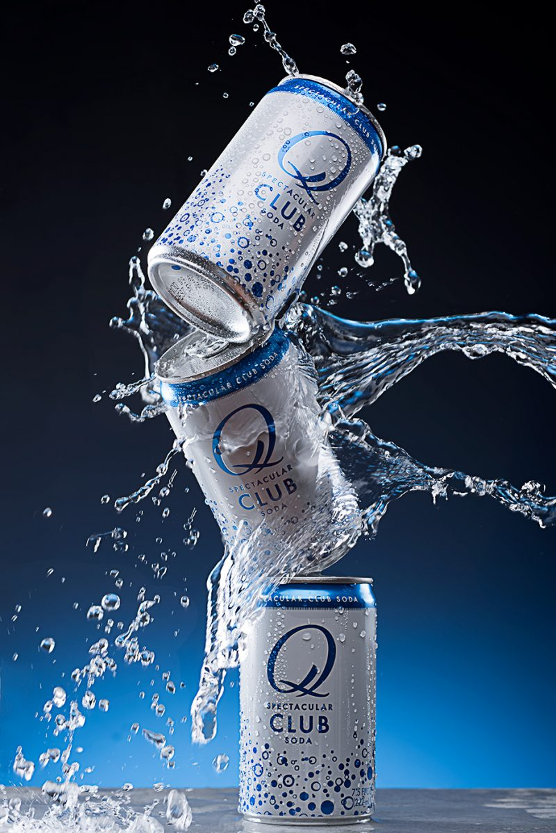 Club Soda Cans Crashing In Water