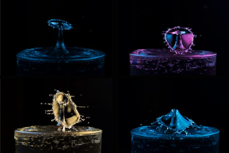 Colorful water droplet collisions