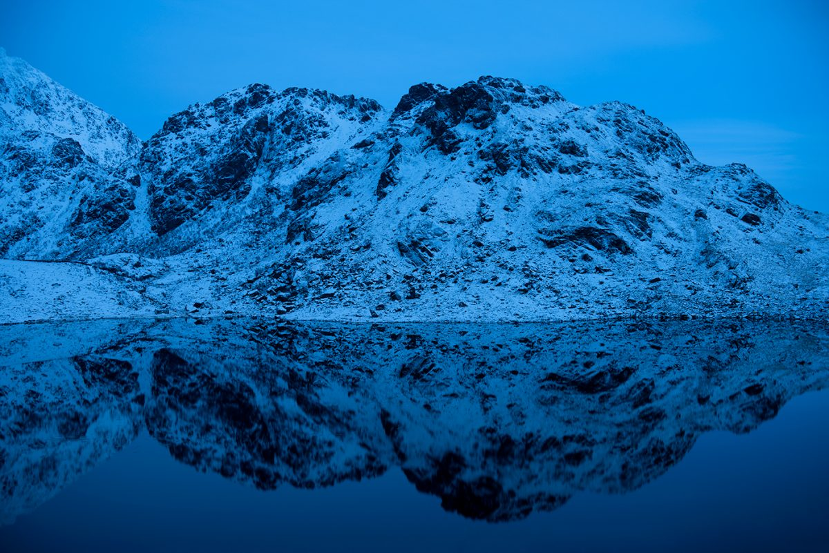 Blue hour on Lofoten Islands with reflection