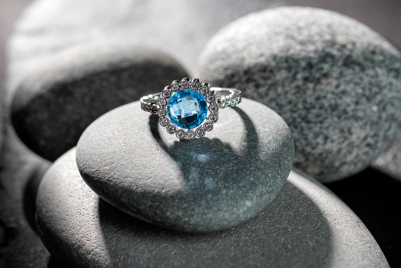 Silver ring with blue gem on North shore Lake Superior rocks