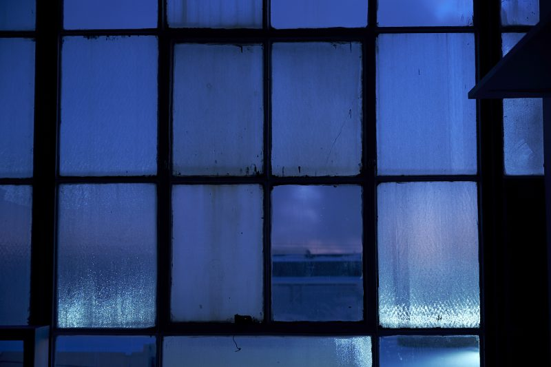 industrial blue hour - window view
