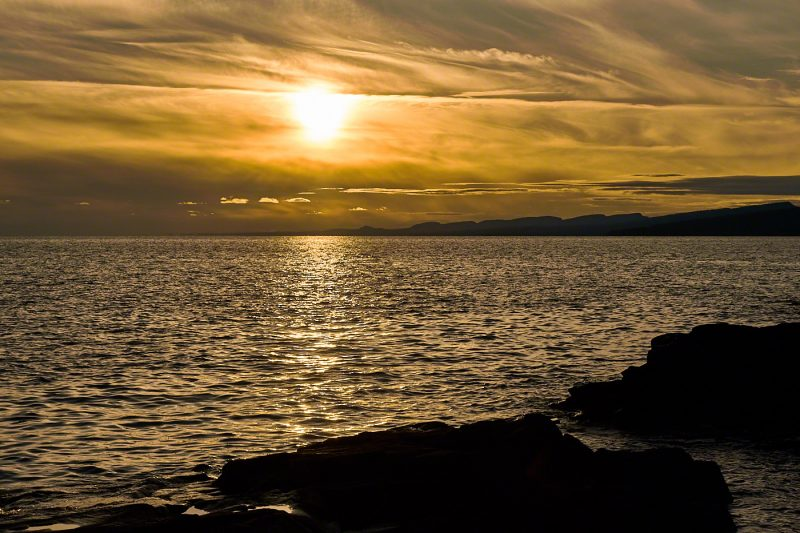 Lake Superior Sunset with sawtooth mountains in background