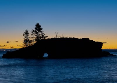 hollow rock by grand portage during blue hour