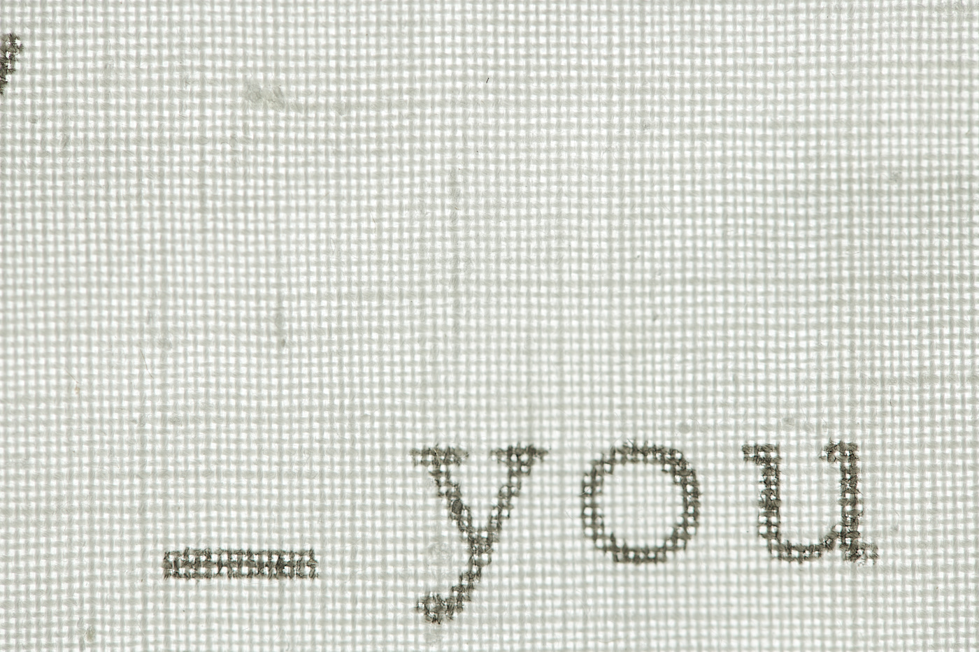 fabric detail with you lettering