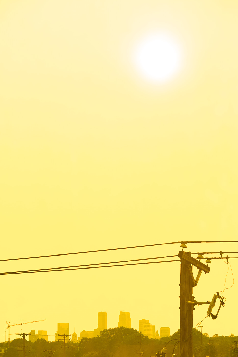 golden hour with power lines