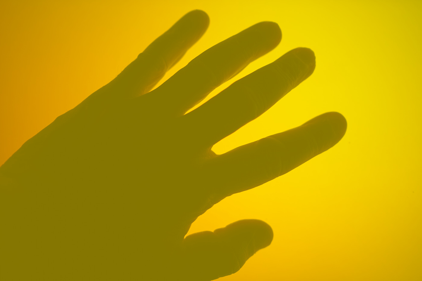 hand silhouette on yellow orange background