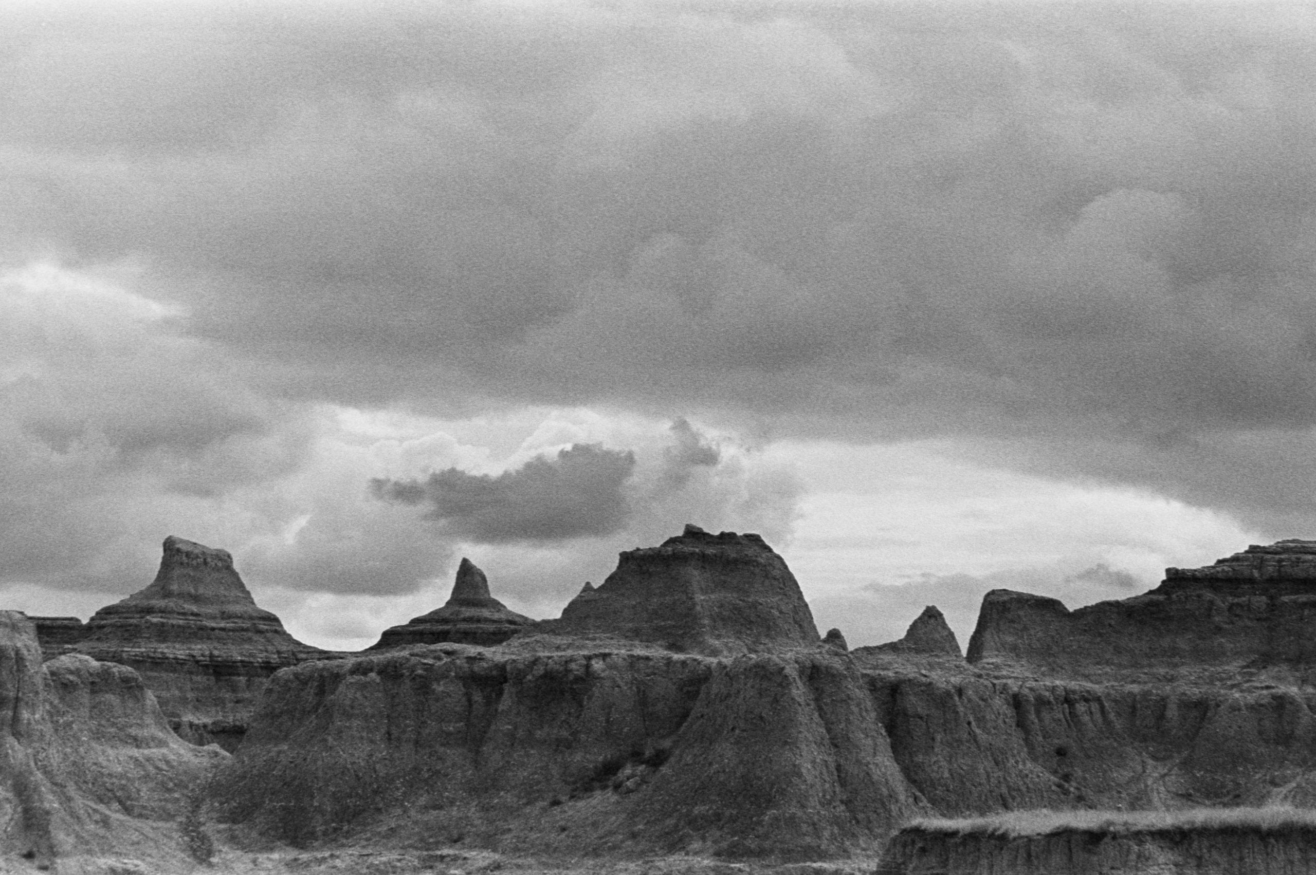 badlands weather clouds black and white trix kodak