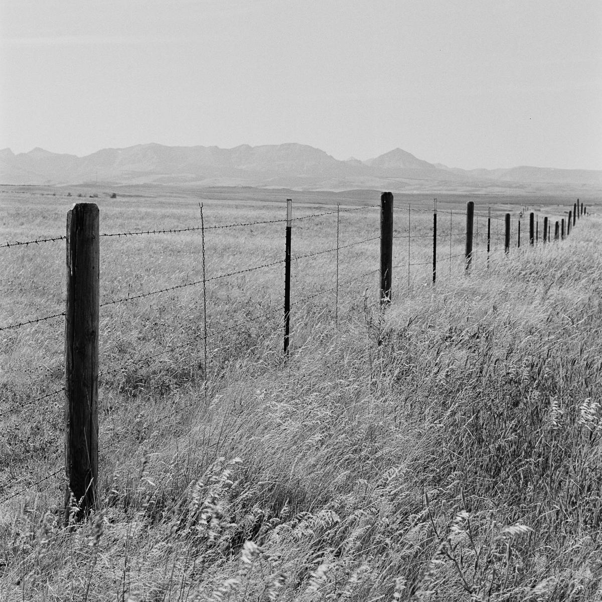 Northern Montana Fence Mountain black and white Kodak TriX