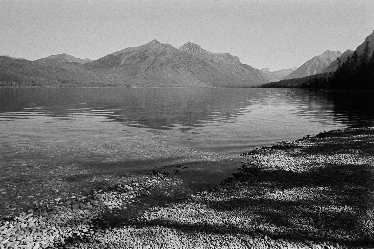 Lake McDonald black and white Kodak TriX